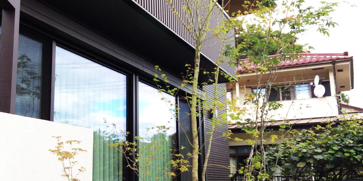 窓越しの緑を楽しむオープン外構