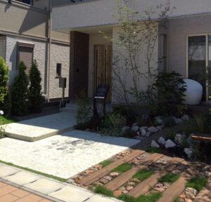 For example, 枕木を使ったナチュラルでおしゃれな玄関アプローチは群馬県高崎市エクステリアFor example,グロウスガーデンのエクステリア
