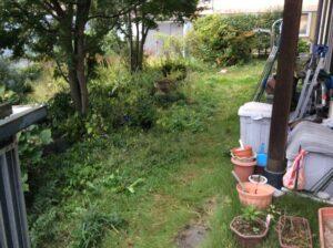 For example,雑草対策、リフォーム前の雑草だらけの庭